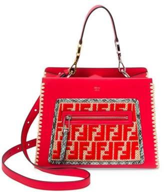 Fendi Small Runaway Raffia & Leather Satchel