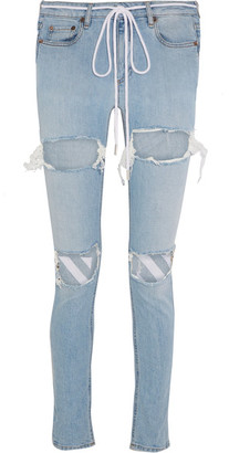 Off-White - Embroidered Distressed Mid-rise Skinny Jeans - Light denim $590 thestylecure.com