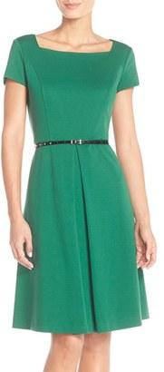 Women's Ellen Tracy Pleat Ponte Fit & Flare Dress $118 thestylecure.com