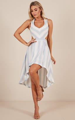 Showpo Special Place dress in blue stripe linen look