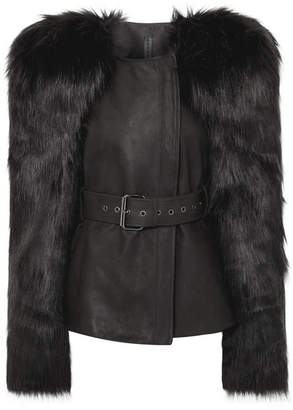 Gareth Pugh Belted Faux Fur And Leather Jacket - Black