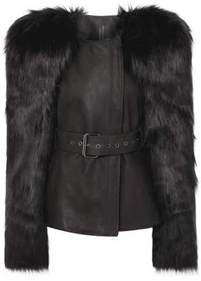 Gareth Pugh Belted Faux Fur And Leather Jacket - Black