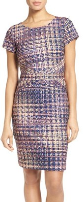 Ellen Tracy Tweed Print Ponte Sheath Dress $108 thestylecure.com