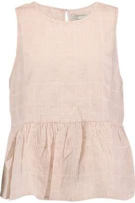 Current/Elliott Embroidered Cotton-Blend Peplum Top