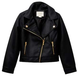 Kate Spade faux leather moto jacket (Big Girls)
