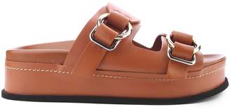 3.1 Phillip Lim Freida Smooth-leather Buckled Platform Slides