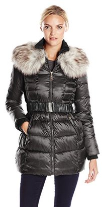 Betsey Johnson Women's Long Puffer Coat with Faux Fur and Belt $130 thestylecure.com