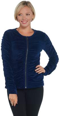 Susan Lucci Collection Long Sleeve Velour Jacket with Ruching Detail