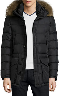 Moncler Cluny Nylon Puffer Jacket with Fur Hood $1,670 thestylecure.com