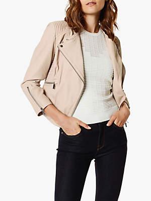 Karen Millen Fitted Leather Biker Jacket, Neutral