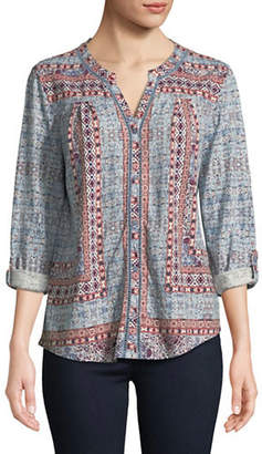 Style&Co. STYLE & CO. Split Neck Printed Top
