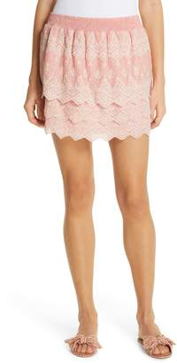 Love Sam Tallulah Embroidered Cotton & Silk Miniskirt