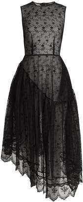 Simone Rocha Asymmetric-hem floral-lace dress