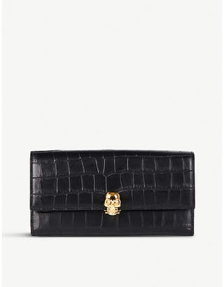 Alexander McQueen Skull-embellished crocodile-embossed leather wallet