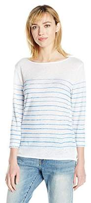 Majestic Filatures Women's Linen Parisian Stripe 3/4 Sleeve Drop-Shoulder Boat Neck Tee