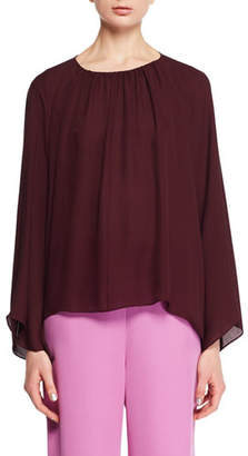 The Row Lancy Round-Neck Long-Sleeve Silk Top