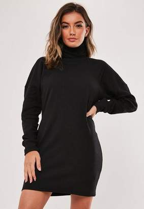 Missguided Black Oversized Long Sleeve Turtle Neck Dress