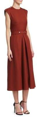 Victoria Beckham Technical Belted A-Line Midi Dress
