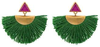 Katerina Makriyianni Mini fan earrings with purple triangle studs