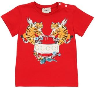 3df94adb Gucci Tiger Print Cotton Jersey T-Shirt