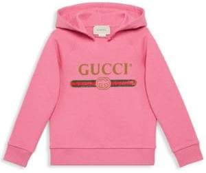 Gucci Little Girl's& Girl's Logo Hoodie - Pink Lady Green - Size 4
