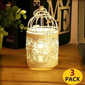 Letl 3 PCS Hollow Out Candle Holder Metal Tealight Candlestick Hanging Candleholder Bird Cage Candlestick Hanging Lantern Decor