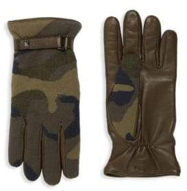 Valentino Cashmere & Leather Camo Gloves