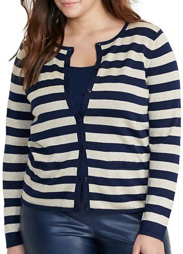 Lauren Ralph LaurenLauren Ralph Lauren Plus Striped Metallic Cardigan