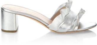 Loeffler Randall Vera Ruffle Metallic Leather Slide Sandals