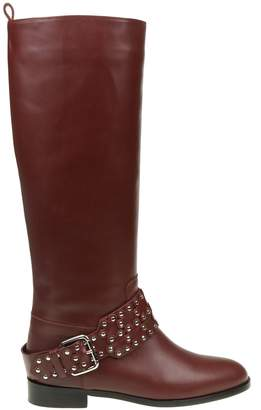 RED Valentino Boot With Leather Strap flower Puzzle Color Bordeaux