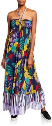 Fuzzi Patchwork Halter Maxi Dress