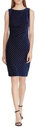 Ralph Lauren Shadow-Stripe Velvet Dress