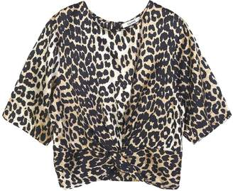 Ganni Calla Silk Twist Blouse in Leopard