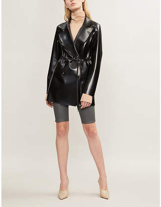 HANGER Double-breasted belted latex jacket