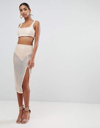 In The Style Tammy Hembrow embroidered sequin sequin thigh split midi skirt