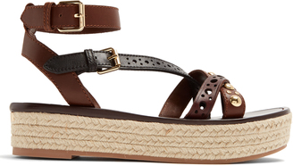 BURBERRY Malthouse leather platfrom espadrille sandals $364 thestylecure.com