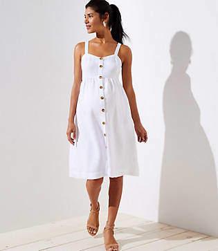 LOFT Maternity Strappy Button Down Pocket Flare Dress