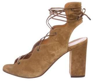 Saint Laurent Suede Lace-Up Sandals Olive Suede Lace-Up Sandals