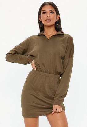 Missguided Khaki Oversized High Neck Ruched Waist Sweater Dress