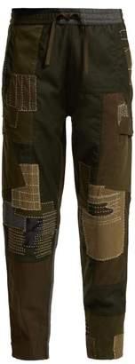 MHI Maha Boro Panelled Wool Trousers - Womens - Dark Green