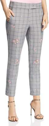 Marella Gong Floral-Embroidered Plaid Pants