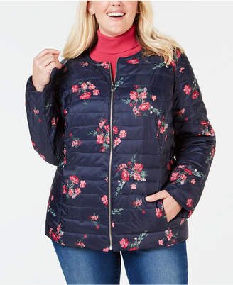 Charter Club Plus Size Reversible Floral Quilted Jacket