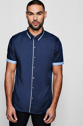 boohoo Slim Fit Smart Short Sleeve Shirt With Turn Up