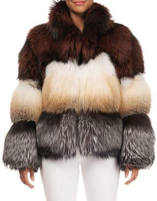 Gorski Three-Tone Fox-Fur Jacket