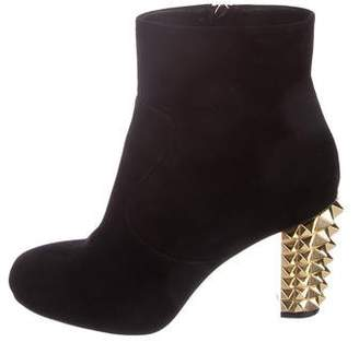 Fendi Suede Round-Toe Ankle Boots