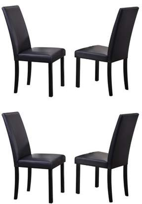 Pilaster Designs August White Upholstered Faux Leather Parsons Kitchen Dintte Dining Side Chairs With Black Finish Legs (Set Of Four)
