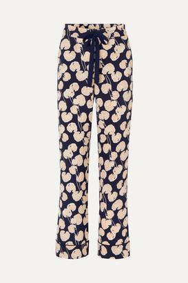Diane von Furstenberg Veronica Printed Crepe Wide-leg Pants - Black