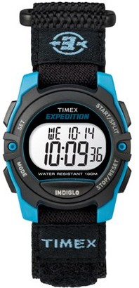 Timex Unisex Expedition Mid-Size Digital CAT Black/Blue Watch, Fast Wrap Strap