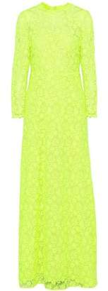 Valentino Neon Guipure Lace Gown
