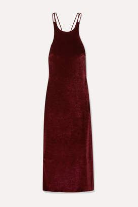 Deveaux - Draped Velvet Midi Dress - Claret